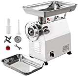 Happybuy Commercial Meat Grinder 770lbs/h Electric Sausage Maker 2200W Stainless Steel With 2 Grinding Heads & 2 Blades For Restaurants, Supermarkets, 770Lb, Sliver