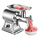 Tangkula Commercial Meat Grinder, 1.5 HP, 1100W, 550LB/h Stainless Steel Electric Sausage Stuffer, 225RPM Heavy Duty Industrial Meat Mincer w/2 Blades, Grinding Plates & Stuffing Tubes