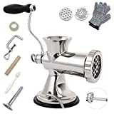 TUNTROL 304 Stainless Steel Manual Meat Grinder, Home Use Sausage Filler Filling Maker for Ground Beef Pork Fish Chicken Rack Pepper With Two Orifice Plates
